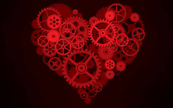 шестеренки, механизм, сердце,