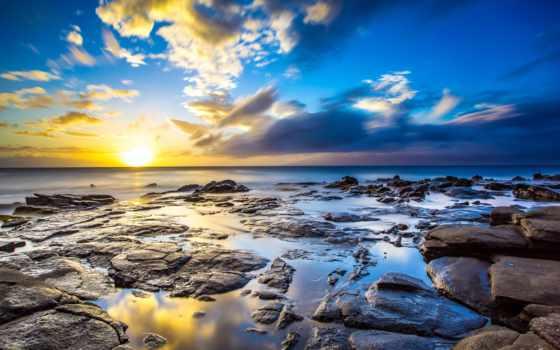 природа, камни, небо, water, море, широкоформатные, sun, закат,
