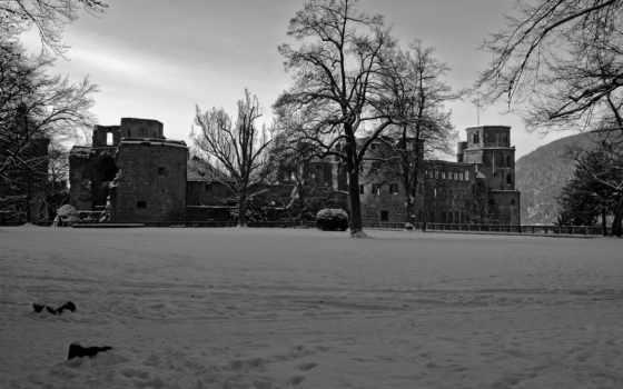 природа, landscapes, чёрно, оттенки, castles, rhein, vater, winter, time,