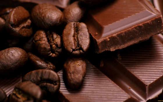 coffee, зерна, chocolate, широкоформатные,