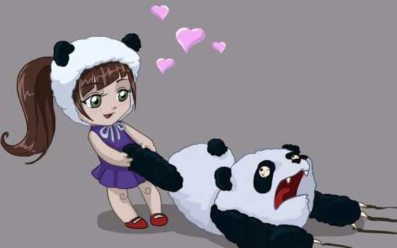 панда, девушка, медведь, панды, аву, art, love, ужас, сердечки, картинка,