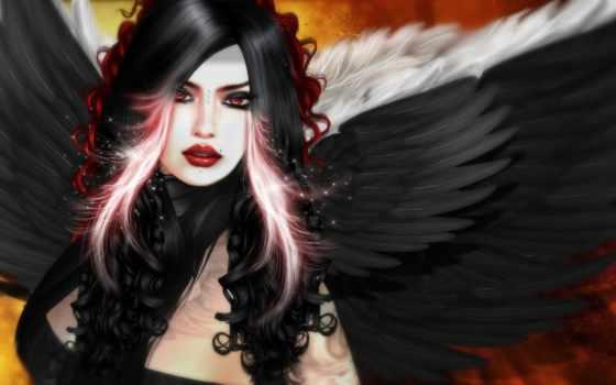 крылья, девушка, angel, black, fantasy,