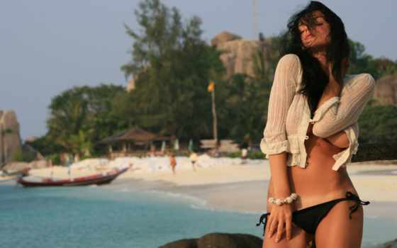 девушка, пляж, море Фон № 38842 разрешение 1920x1080