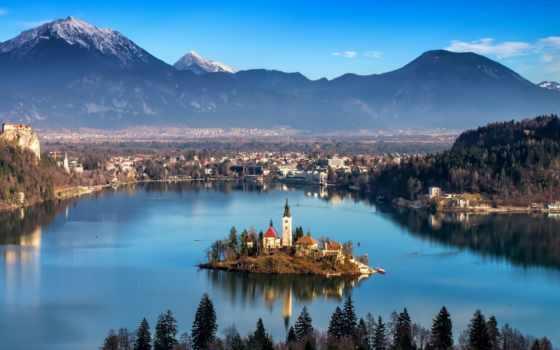 slovenia, radovljica, days, озеро, радовлица, aerial, здания,
