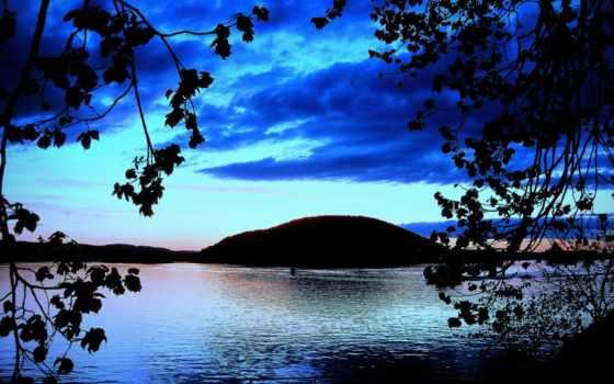 силуэты, деревьев, дек, небо, deviantart, art, природа, landscape, мар, мама,