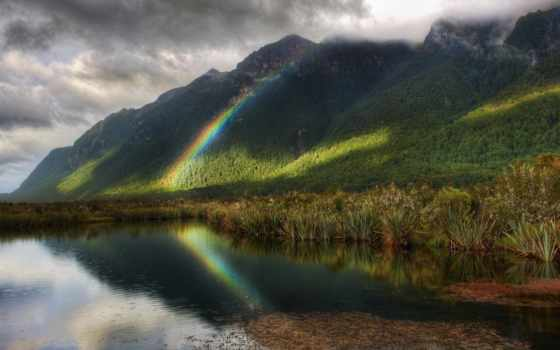 дождь, радуга, reservoir, trees, их, лесом, гор, склоне, подножья,