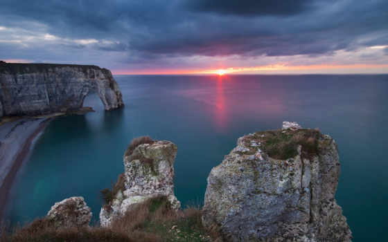 normandy, природа, побережье, закат, море, скалы, арка, french, пейзажи -, landscape,