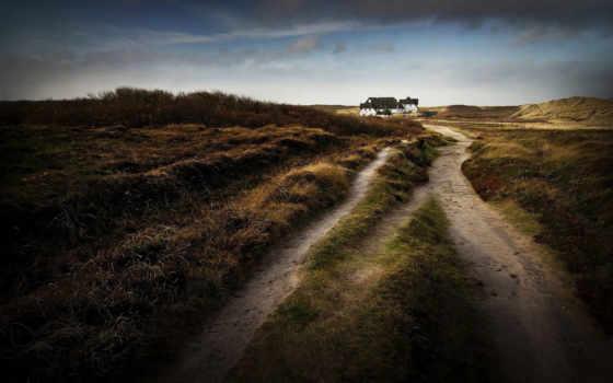 дорога, house, dirt, houses, dunes, осень,