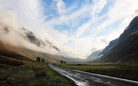 туман, горы, дорога, дымка, небо, неизвестность,
