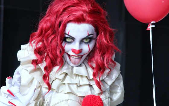 pennywise, клоун, red, коспл, купальники, девушка, halloween, убийца, сзади, фото