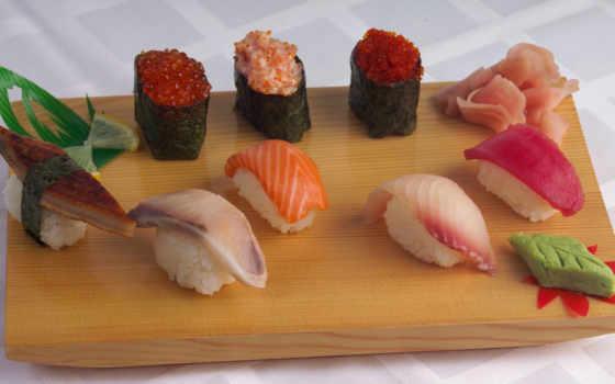 wasabi, sushi, ginger, fish, рис, lemon, планшетный, mac,