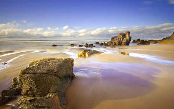 море, скалы, испания, небо, пляж, oblaka, песок, астурия, april, природа,