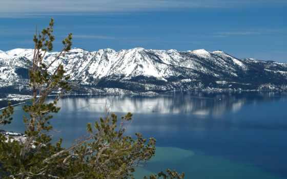 озеро, landscape, дерево, фоны, water, картинка, категории, небо, ski, природа,