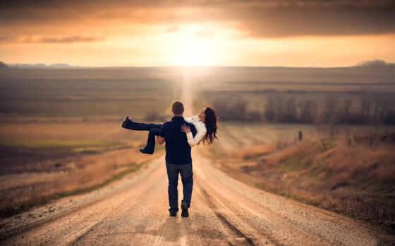 pair, влюбленные, дорога, раздолье, путь, поле, мужчина, женщина,