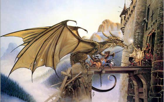 chris, achilleos, dragonspell, фэнтези, дракон, горы, войны, fortress, fantasy, defense,