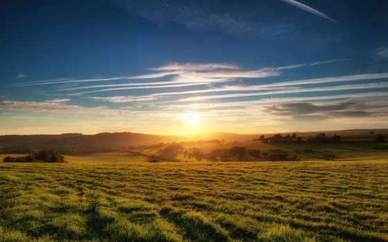 закат, поле, раздолье, раздолье, oblaka, природа, фоны, со,