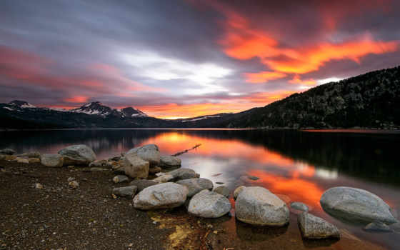 pantalla, lago, atardecer, abyss, montañas, озеро, mac, piedras, g-n-in