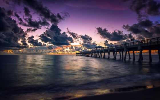 pier, закат, море, горизонт,