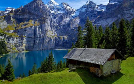 гора, house, lodge, озеро, лес, swiss, лагос, montaña, bosque, paisaje, izya