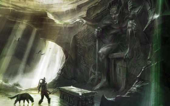 скайрим, пещера, гробница, воин, elder, картинка, skyrim, scrolls, вертикали, горизонтали, имеет,