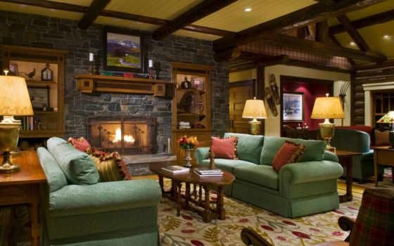 интерьер, камином, гостиной, lounge, design, камин, комната,
