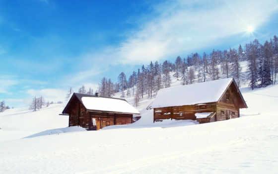nieve, paisaje, invierno