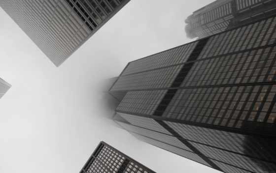 небоскребы, туман, чб, город, black, взгляд, stock, white, сша,
