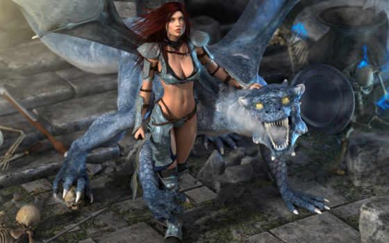 дракон, девушка, черепа,