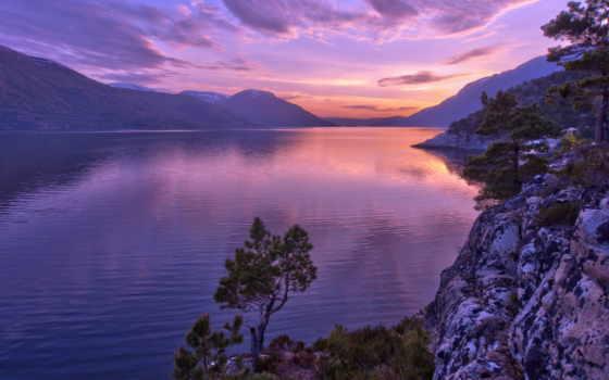 горы, закат, norwegian, fjord, норвегия, trees, сосны, landscape, природа, озеро,