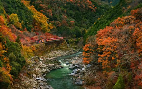 поезда, поезд, осень, горы, лес, коллекция, загружено, лучшая, уже, дорога,