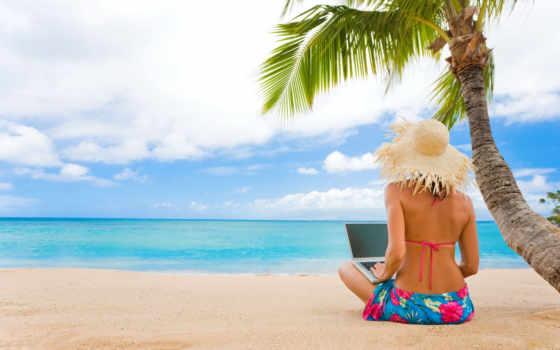 девушка, пляж, море, песок, palm, ноутбуком, waves, ноутбук, отдых, tropics, пляже,