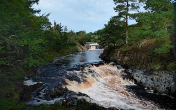 водопад, река, красавица, сила, поток, лес, low, пейзажи -, рододендрон,