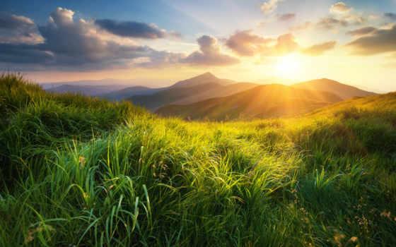 закат, sun, hill, рассвет, landscape, natural, растровый, красивый, облако, природа