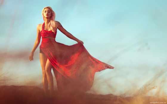 девушка, blonde, платье
