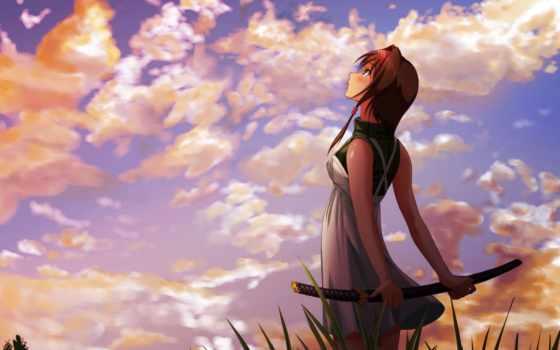 катана, девушка, anime