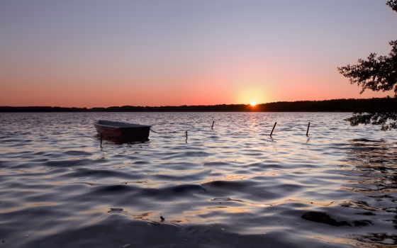 дек, лодка, февр, озеро, masaüstü, arka, закат,