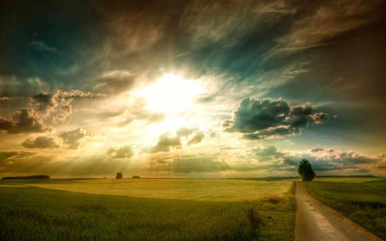 сол, paisajes, campos