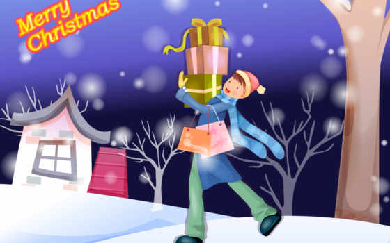 christmas, открытки, merry, postcard, нарисованные,