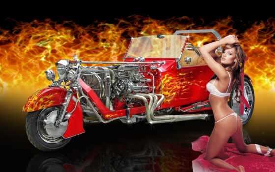 темы, rei, разнообразные, collector, трицикл, пламя, девушка, мотоциклы,