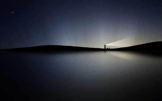 ночь, lighthouse, high, desktop, сияние, качество, water,