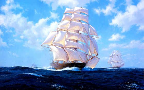 sailboat, море, diamond, небо, waves, картинка, живопись, oblaka, diy,