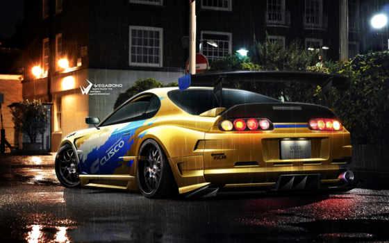 toyota, supra, underground, need, скорость, дождь, ночь, yellow, nfs, car,