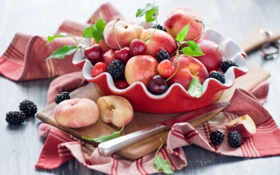 фрукты, ягоды, персики, натюрморт, blackberry, нектарин, cherry, черника,