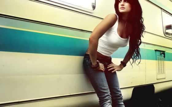 девушка, brunette, house, колесах, дек, полоски, изображения, рубашка, свет, природа, crystal,