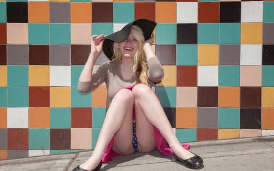 , девушка, трусики, шляпа,