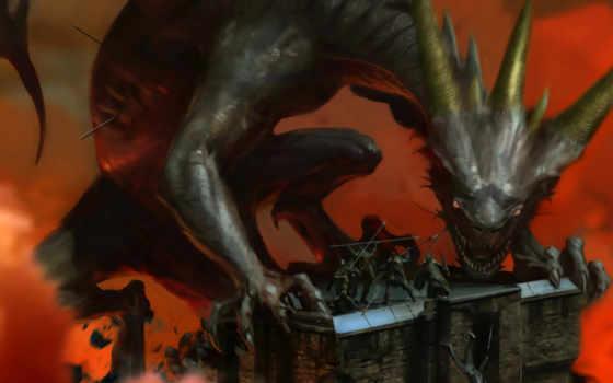 битва, дракон, earth, middle, lotr, осадный, monster,