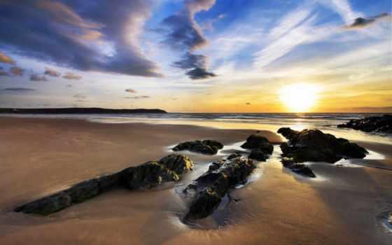 devon, woolacombe, пляж