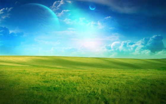 трава, небо, landscape