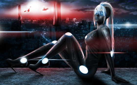 cyborg, девушка, игры, art, страница, огни, масть, игр, город,