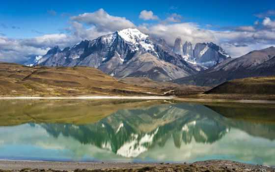 гора, del, reflecting, oscar, valle,
